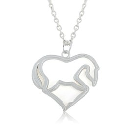 Wholesale 30 a silver plated animal heart shape horse pendant necklaces jewelry cm chain