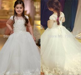 Latest Lace Appliques Flower Girl Dresses Girls Pageant Dresses Baby Dresses for Girls First Communion Dresses For Weddings