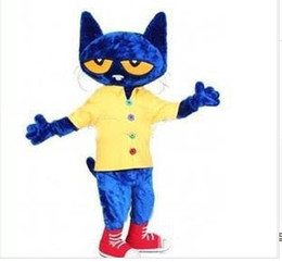 Wholesale Cat Mascot Costume Fancy Dress - High quality Pete the Cat Adult Size Halloween Cartoon Mascot Costume Fancy Dress