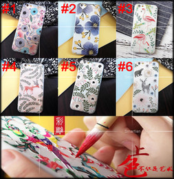 Wholesale Coloured Sculpture Decorative Embossment Painted D Relief Case Floral Flamingo Deer Back Cover for iPhone s Plus Soft TPU frosted Shell