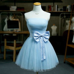 Strapless Short Tulle Bridesmaid Dress With Satin Bow Under 50 Dollar 2016 Knee Length Ball Gown Party Dress