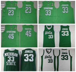 Wholesale Michigan State Spartans Jerseys College Throwback Magic Johnson Shirt Green White Uniform Denzel Valentine Draymond Green