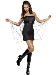 Wholesale Sexy Fever Black Widow Dress With Web Spider Costume Strapless Mini Dress Fancy Costume For Adult W84449