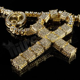 Wholesale 14k Gold Iced Out ROSARY SQUARE Jesus Cross Pendant Men Necklace Chain