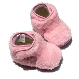 Wholesale Ankle Snow Boots For Baby Winter Plush Warm Shoe Infant Boy Girls Soft Hook Loop Solid Cotton Velvet Newborn Kids Non Slip Shoes
