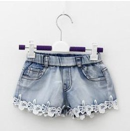 Wholesale Summer Children Denim Shorts Korean Girl Lace Shorts Kid s Jeans Hot Pants Size Factory Sale Child Clothing A4905