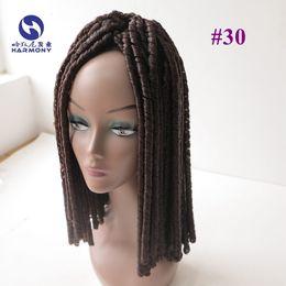 Descuento rastas tejen HARMONY Auburn Brown Synthetic Dread Locks Tela de pelo al por mayor Afro Cabello Extensión Dreadlocks Crochet Twist Hair # 30