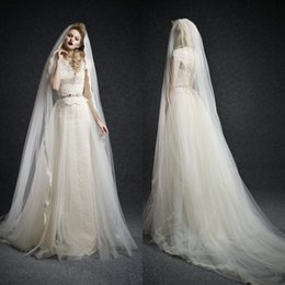 Wholesale Ersa Atelier Wedding Dresses Full Lace A Line Cap Sleeves Beaded Waist Tulle Over Layer Vintage Bridal Gowns With Long Veil Vestidos