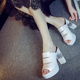 Wholesale Leather Sandals Women American - Hot wholesale summer women's fashion high heel sandals European and American fashion crude eye singles shoes in Europe and Americ