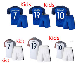 Wholesale 16 France National team Kids Soccer Kits European Cup France Children football set POGBA GRRIEZMANN MATUIDI Youth uniform