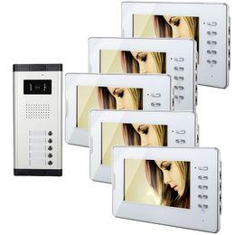 Systèmes d'interphone de portier vidéo en Ligne-Xinsilu système Sonnette filaire Appartement 1V5 Wired Video Door Phone Audio Visuel Portier V70D-520C-5