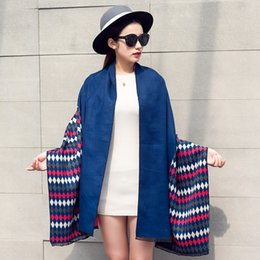 Wholesale 2016 female scarf autumn and winter national wind diamond double sided imitation cashmere thick thermal insulation large shawl