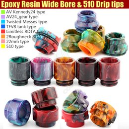 Wholesale Top Wide Bore Mouthpiece Epoxy Resin Drip Tip Cover Caps Battle Cap AV able Kennedy Roughneck TFV8 Limitless RDTA e cigs Mods RDA Tips