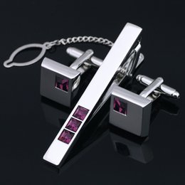 Stainless Steel Cufflinks and Tie Clip Clasp Bar Set Gift Box Red Crystal For Men Gift French Shirt High Quality Z-402