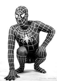 Araignées noires à vendre-2016 Costumes d'Halloween pour adultes Spiderman Noir Lycra Zentai Spider-man Costumes pour Halloween Costumes Sperhero Tout Taille Accepter