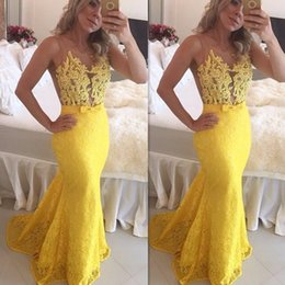 Wholesale Yellow Lace Prom Dresses Illusion Crystal Beaded Top Mermaid Sexy Evening Gowns Long Discount Online Store Special Occasions Dress