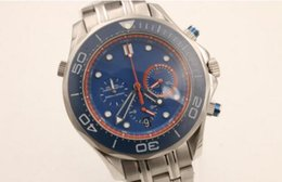 Wholesale Hot Sale Brand Men OM Quartz Watch Stainless Band Blue Dial Chronometer original clasp Sea Master Watch Analog