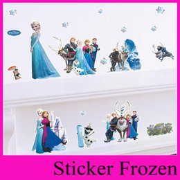 Wholesale Cartoon Anne Elsa Frozen Wall Stickers for Kids Rooms DIY Home Decoration D wall stickers home decor christmas decoration ZYpaz001