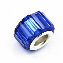50PCS Lot Beautiful Royal Blue Resin Rhinestone Charms Silver core European Big Hole Beads for Jewelry Making Low Price