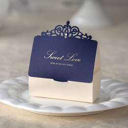 Wholesale Small Gift Cards Wholesale - Wishmade Free Shipping Navy Blue and Ivory Laser Cut Sweet Love Wedding Candy Box Elegant Rhinestone Wed Favor Box Small Gift Box
