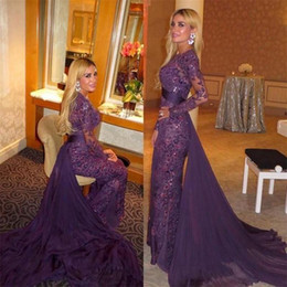Arabic Purple Full Lace Beads Evening Dresses Long Sleeves Evening Gowns with Detachable Train Sheer Long Mermaid Prom Dresses