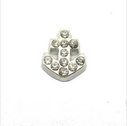 Wholesale 20Pcs rhinestone anchor floating locket charms for glass living locket