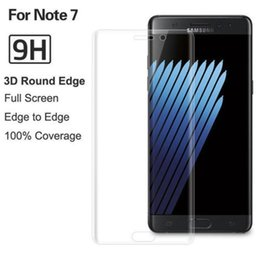 Wholesale For Samsung Note Tempered Glass screen printing Phone Front Note7 full cover Screen Protector D Curved s7 Edge Full Cover with Package