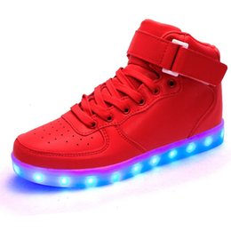 Hot Selling 2016 New arrival luminous shoes men women lovers LED lights USB charging shoes fashion casual shoe 8 colors free shipping