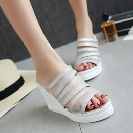2016 summer breathable big size 33-43 pu+mesh high wedge heel slip-on cutouts open toe ladies causal scuffs shoes women slippers 157-5