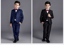 2016 new arrival fashion baby boys kids blazers boy suit for weddings prom formal black navy blue dress wedding boy suits 5pcs
