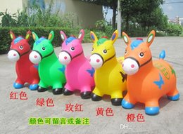 Wholesale children s inflatable horse jumping horse jumping deer painted thick green music Pima inflatable toy horse