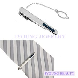 Elegant Navy Blue Crystal Tie Clips Men Necktie Silver Tone Metal Clamp Jewelry Decor Tie Clasp Bar Wedding Party Meeting Gift