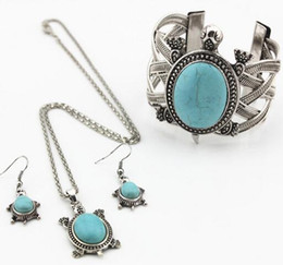 1pcs The bracelet that the tortoise, owl and elephant is turquoise necklace suit personality necklace earring three sets wholesale