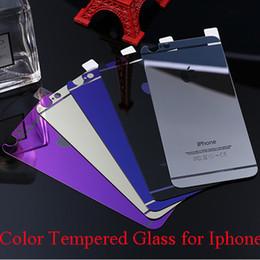 Promotion plaque d'écran Verre coloré en verre trempé Iphone 5 6s 6 6plus miroir coloré avant et arrière écran protecteur cellphone film coloré avec boîte de détail