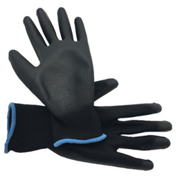 Wholesale DEWBest pairs Lightness comfortable polyester nylon work gloves cheap PU working safety gloves