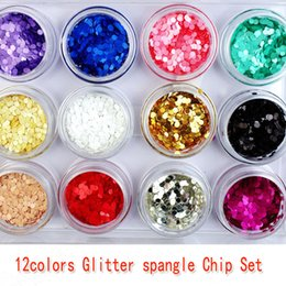 12 colors Glitter spangle Chip Set big hexagon glitter nail designs nail polish glitter