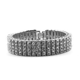Men Gun Gold Silver 4 Row Diamond Simulate Tennis Bracelet 8inch Rhinestone Iced Out Hip Hop Bling Bracelet Cool Jewelry