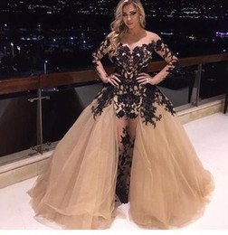 Sheer Neck Champagne Prom Dresses Ruffles Puffy Full Length Illusion Black Lace Appliques Evening Gowns Long Sleeves with Detachable Train