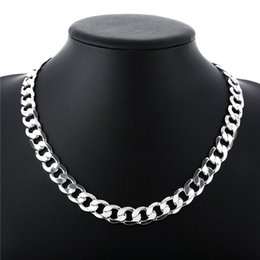 Heavy 66g 12MM flat sideways necklace Men sterling silver necklace STSN202,wholesale fashion 925 silver Chains necklace factory direct sale