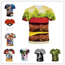 Wholesale New Fashion Space Galaxy men brand t shirt funny print super power cat Jetting water life like hamburger D t shirt summer tops tees