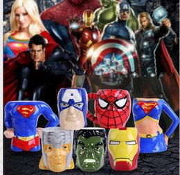 Wholesale 7 design LJJK343 travel Comics Captain America Ceramic Mug Cup Coffee D Marvel Comics Spider Man Super Hero Superman DC Tea Cups