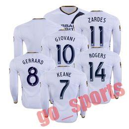 Wholesale 16 LA Galaxy Home Long Sleeve Soccer Jerseys Soccer Jersey Best Thail Quality GERRARD ZARDES KEANE GIOVANI ROGERS Soccer Jersey Jerseys