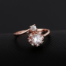 Brass fashion rose gold ring high quality jewellery free size AAA cubic zirconia USA style personality ring for girls free size