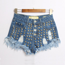 Punk Style Rivet Denim Shorts Women Ripped Tassels Club Shorts Summer Slim-Fit Blue Denim Jean Shorts Pants BSF0370