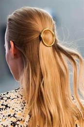 2016 pinces à cheveux ronds Punk Femmes Métal Or Argent Cercle ronde Barrettes Hair Fashion Accessoires Hairpins Hia Clip pour filles cadeaux en gros 12 Pcs pinces à cheveux ronds à vendre