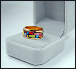 Mondrian Series rings 18K gold-plated enamel rings Top quality ring for women band rings for gift