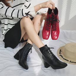 Winter new luxury British wind square head in the tube female boots before the tie with high-heeled fashion Martin boots women's shoes