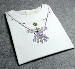 Wholesale TCA Goros Spring Summer Tide brand Indiana embroidery eagle feather necklace turquoise lovers short sleeve cotton women and men T shirt