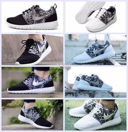 Wholesale 2016 Now Roshe Run Running Shoes Women Black White Serpentine Pattern Sport one woman Fashion Breathable Sneakers