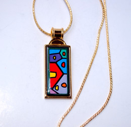 Hundertwasser Village Series 18K gold-plated enamel necklaces for woman Top quality rectangular pendant necklace free shipping collier